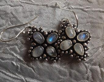 Black Friday Sale: Vintage Rainbow Moonstone Earrings-Rainbow Moonstone Earrings-Moonstone Dangle Earrings-Moonstone Earrings-Rainbow