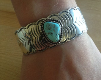 """Christmas Jewelry SALE: Museum Navajo Modernistic """"Natural Dry Creek Turquoise"""" Silver Bracelet-""""Sacred Buffalo Turquoise"""" Bracelet -Navajo"""