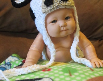 Crocheted Yarn Critter Hat Mabel Cow for baby Handmade by me