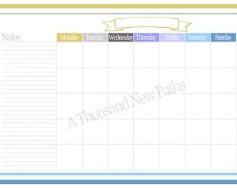 Monthly Desk Calendar Printable 11 x 17; digital file
