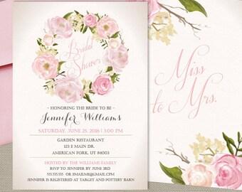 Garden Party Bridal Shower Invitation, Romantic Floral Invitation, Vintage Garden Shower, Printed Or Printable File, Free Shipping Ibr0001