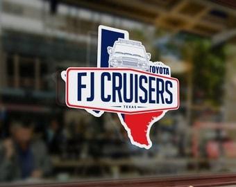 """3"""" x 2.67"""" Die Cut Texas  Fj Cruiser Sticker"""