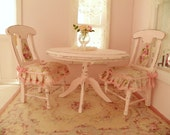 dollhouse shabby chic  dining room table and chairs - 1/12 dolls house dollhouse miniature