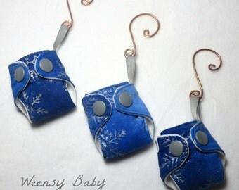 "Mini Cloth Diaper Christmas Ornaments- Silver Snowflake print- 2"" Key chain or tree decoration, Cloth diaper ornament"