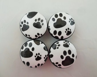 Set of 4 Black and White Paw Prints Cabinet Knobs