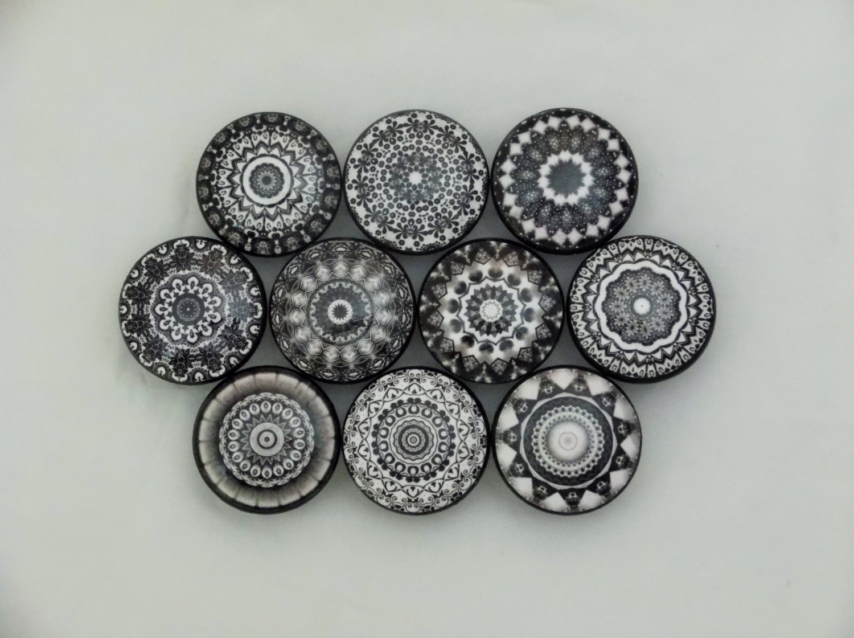 Set of 10 black and white mandala cabinet knobs Black knobs on white cabinets