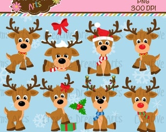 40% Off! Reindeer Digital Clip Art Instant Download