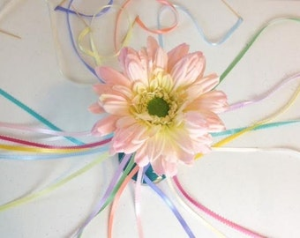 Maypole Cake Topper, Victorian Tea Party Decoration, Candle Ribbon & Flower Topper, Wedding or Birthday Cake Decoration