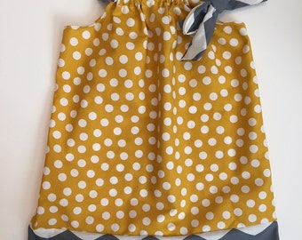 Boutique girls pillowcase dress. trendy yellow and grey. girls sundress. Baby clothes infant dress Available in sizes 3mo - 8 yrs