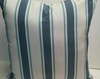 Sunbrella Suzanne Kasler Nantucket Stripe Blue with Sunbrella Off White Backing Outdoor Decorative Throw Pillow Cover with Zipper