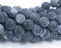 black dragon vein agate - black agate beads - wholesale agate stones - semi precious gemstone beads - 6-14mm round beads - 15inch
