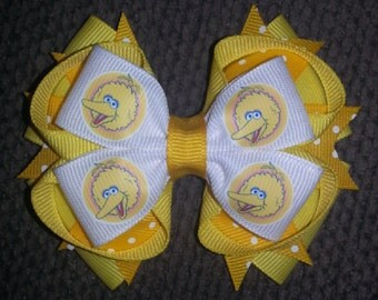 Big Bird Sesame Street Handmade Yellow Stacked Boutique Bow