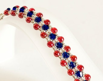 Crystal Bracelet in Cobalt Blue Crystals, Red Luster Round Beads, Silver Seed Beads - Seed Bead Bracelet - Patriotic Bracelet - 4th of July
