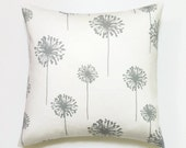 Gray Pillow, 20x20 Pillow Cover, Modern Floral Decor, Cushion Cover, Flower Pillow, Dandelion White Storm