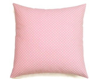 Pink Pillow Cover, 18x18 Pillow Cover, Decorative Pillow, Throw Pillow, Girl Decor, Nursery Decor, Cushion Cover, cm, Dotty Baby Pink