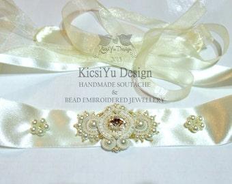 Ivory Soutache Bridal Gown Sash Crystal Rhinestone Belt Swarovski Satin Organza Wedding Gown Belt Ribbon Bow Off-white Gürtel Hochzeit Braut