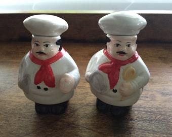 Vintage Figural Salt and Pepper Shakers 2 Chefs