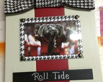Alabama Roll Tide Large Bow Table Top Frame with Burlap Ribbon