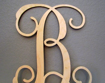 "14"" Wood Vine Monogram Letter - Single Wooden Letters - Vine Monogram - Wooden Monogram - Wall Hanging Letters - Wall Decor Letters"