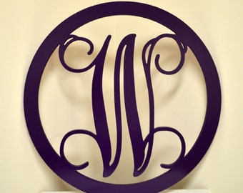 Door Hanger, Vine Single Letter with Circle Frame, Large Wooden Monogram, Painted, Wall Decor, Wedding Decor