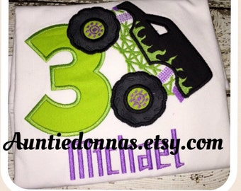 Monster truck Grave Digger Flames any number Birthday shirt Custom monogram appliqué