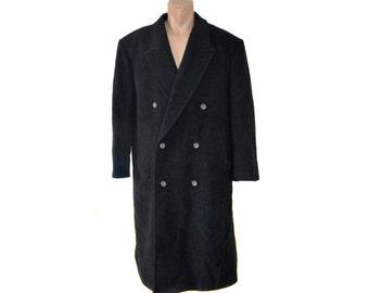 Vintage YORN ® for men long coat black wool cashmere