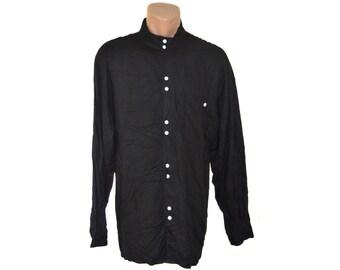 Vintage Valentino Boutique men shirt black white buttons size L