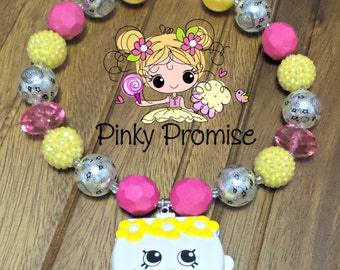 """Shopkins """"CARRIE CLUTCH"""" Toddler/Child Handmade Chunky Rhinestone Necklace"""