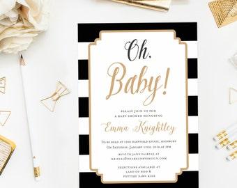 Gold Oh Baby Shower Invitation, Modern Baby Shower Invite, Winter Shower, Gender Neutral, Baby Girl or Baby Boy, Elegant Black White Stripes