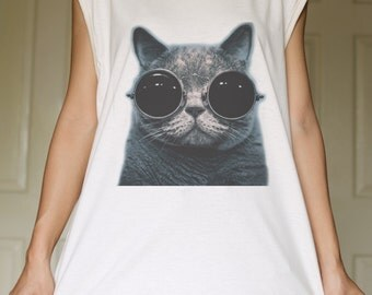 Cat Glasses White Organic Cotton Tank Top Tunic Vintage Look One Size
