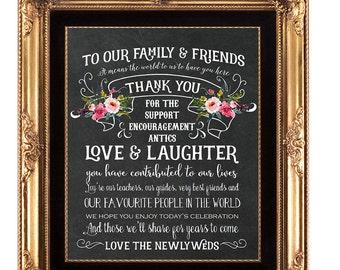 chalkboard wedding sign, printable wedding sign, thank you wedding sign, digital wedding sign, printable thank you sign,  8x10