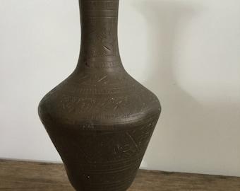 Old Etched Brass Vase