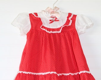Vintage baby dress red with polka-dots, Sears size 3-6 mo