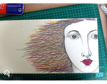 Illustration # GraçaLeão done with colored pencils and graphite