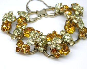 Juliana Chunky Bracelet DeLizza and Elster Five Link Layered Gold Clear Glass Rhinestone teamvintageusa ecochic team