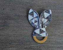 Wooden Teether - Grey and White Bunny Ears Baby Teething Ring - Baby Toy