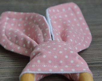 Pink Wooden Teething Ring - Bunny Ears Baby Teether - Classic Pink with White Polka Dots