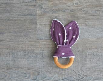Purple Polka Dot Wooden Teething Ring - Bunny Ears Baby Teether