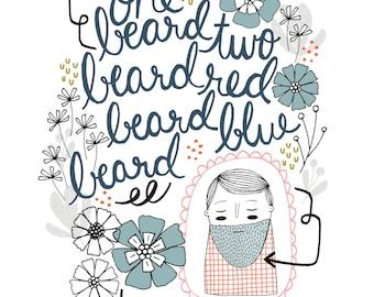 Beard Print, Beard Art, One Beard Two Beard, Valentine's Day, Anniversary, Birthday, Bearded Man, Hand Lettering, Illustration