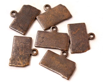 6x Antique Brass / Brown Patina Blank South Dakota State Charms - M073/AB-SD