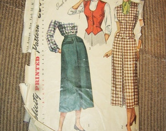Vintage 1950's Skirt Printed Pattern By Simplicity, Skirt Pattern Only, Simple To Make, # 2720 Size 12