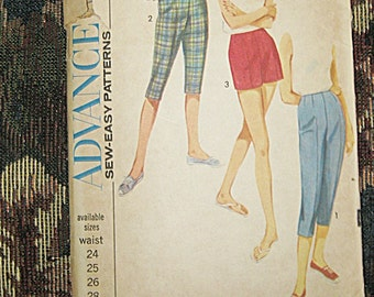 Vintage Capri Pattern By Advance, Sew-Easy Pattern #3469, 1960's Pedal Pusher And Shorts Pattern, 24 Inch Waist, Vintage Sewing Pattern