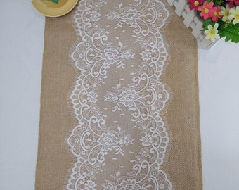 Burlap Table Runner with Lace, Lace Table Runners, Custom Table Runners, Jute Table Runner, Wedding Party  Decor