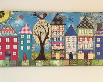 House village, mixed media houses, MIXED MEDIA CANVAS, Mixed media Art