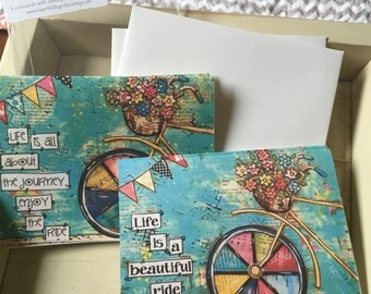 Bicycle Notecards, Bike Mixed Media, Bike with basket of flowers