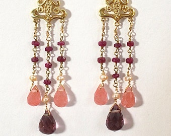 Pink gemstone chandelier earrings,                                 long, pink earrings, dangle earrings, gold jewelry, pink and gold,