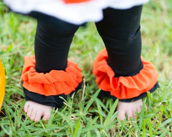 Girls Ruffle Leggings Black Orange Ruffle leggings - Perfect for Halloween, Photo Prop, Fall Festival - Fits girls sz 1 - 5T