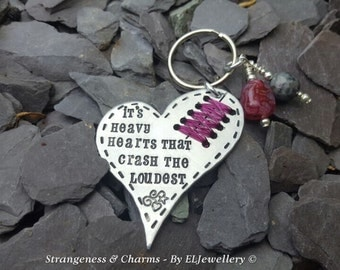 Hand Stamped A.R.Lucas Poetry Inspired 'Heavy Hearts' Stitched Heart Keyring,Heart Keychain, Poetry, Stamped Metal, Metal Jewellery