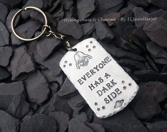 Hand Stamped 'Dark Side' Aluminium Dog Tag Keychain, Darth Vader, Star Wars, Keyring, Sith, Fandom, Geekery, Stamped Metal Jewelry.