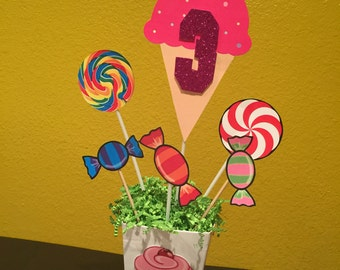Candy Theme Lollipop Birthday CenterPiece